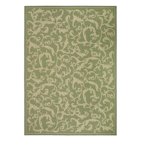 Safavieh Green Floral Cream 132-in x 94-in Indoor/Outdoor Area Rug