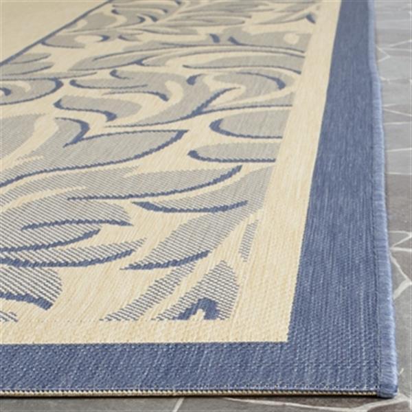 Safavieh Courtyard Blue Floral Cream 132-in x 94-in Indoor/Outdoor Area Rug