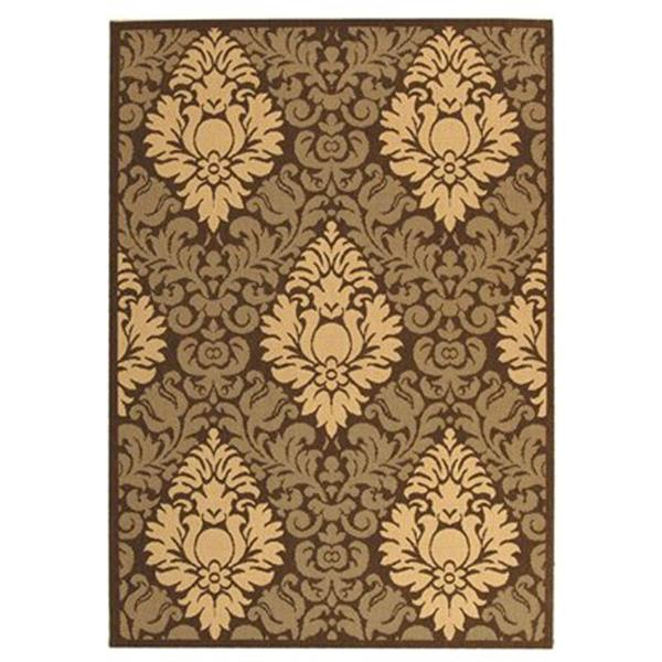Safavieh Courtyard Brown Floral 132-in x 94-in Indoor/Outdoor Area Rug