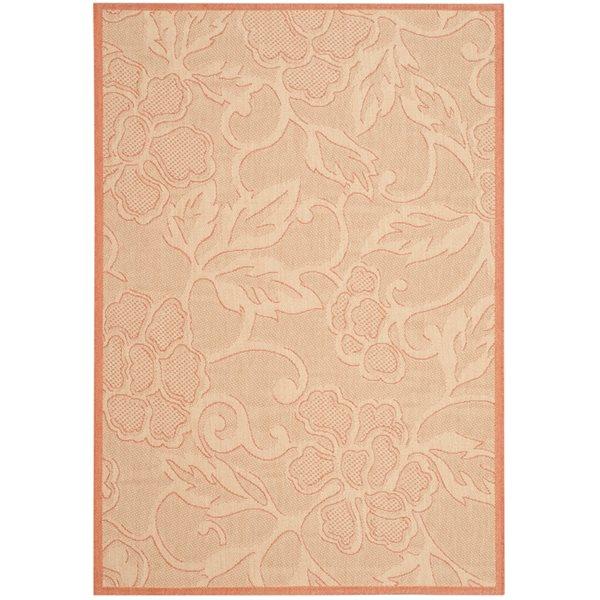 Safavieh Courtyard Floral Gold/Cream 132-in x 94-in Indoor/Outdoor Area Rug