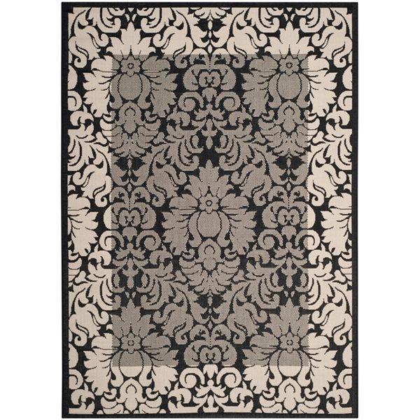Safavieh Courtyard Black Floral 132-in x 94-in Indoor/Outdoor Area Rug