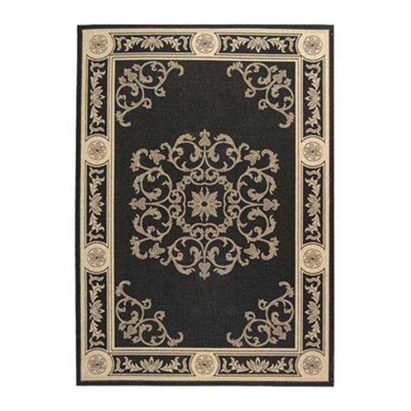 Safavieh Courtyard Black/Cream 132-in x 94-in Indoor/Outdoor Area Rug