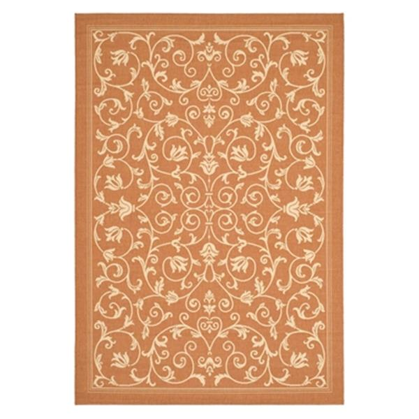 Safavieh Courtyard 132-in x 94-in Orange Indoor/Outdoor Area Rug