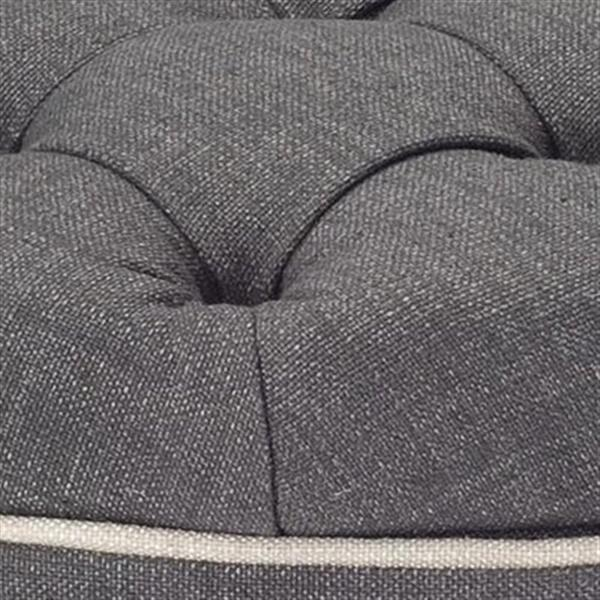 Safavieh Amelia Tufted 19.60-in x 20.80-in Charcoal Linen Storage Ottoman