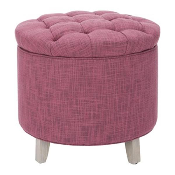 Safavieh Amelia Tufted 19.60-in x 20.80-in Rose Polyester Storage Ottoman