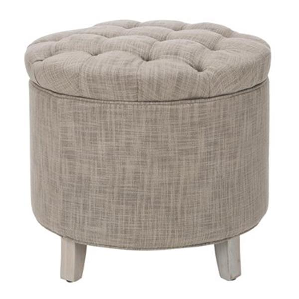 Safavieh Amelia Tufted 19.60-in x 20.80-in Gray Linen Storage Ottoman