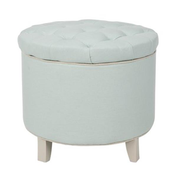 Safavieh Amelia Tufted 19.60-in x 20.80-in Robins Egg Blue Linen Storage Ottoman
