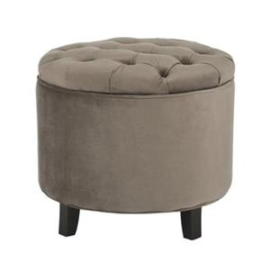 Safavieh Amelia Tufted 19.60-in x 20.80-in Mushroom Velvet Storage Ottoman