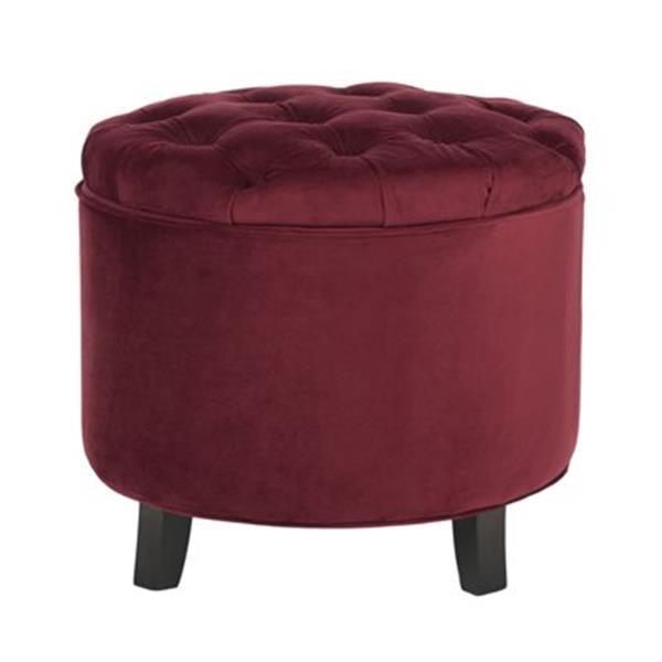 Safavieh Amelia Tufted 19.60-in x 20.80-in Red Velvet Storage Ottoman