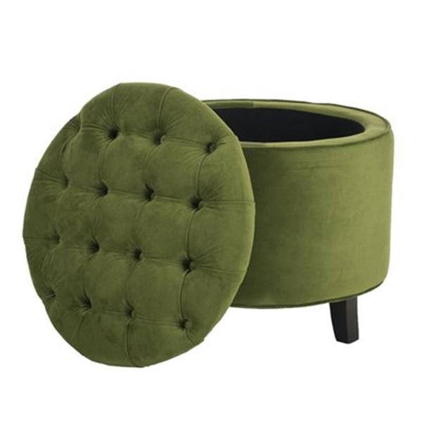 Safavieh Amelia Tufted 19.60-in x 20.80-in Fern Velvet  Storage Ottoman