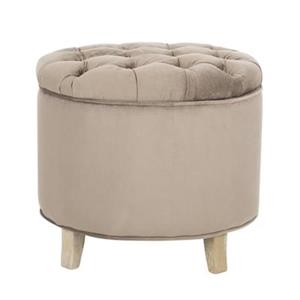 Safavieh Amelia Tufted 19.60-in x 20.80-in Mushroom Storage Ottoman
