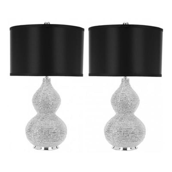 Safavieh 24-in Silver/Black Nicole Bead Lamp (Set of 2)