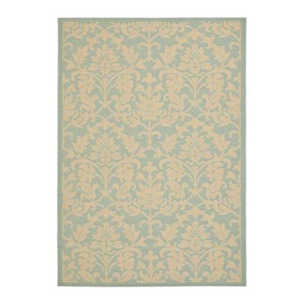 Safavieh Courtyard 134-in x 96-in Aqua/Cream Indoor/Outdoor Area Rug