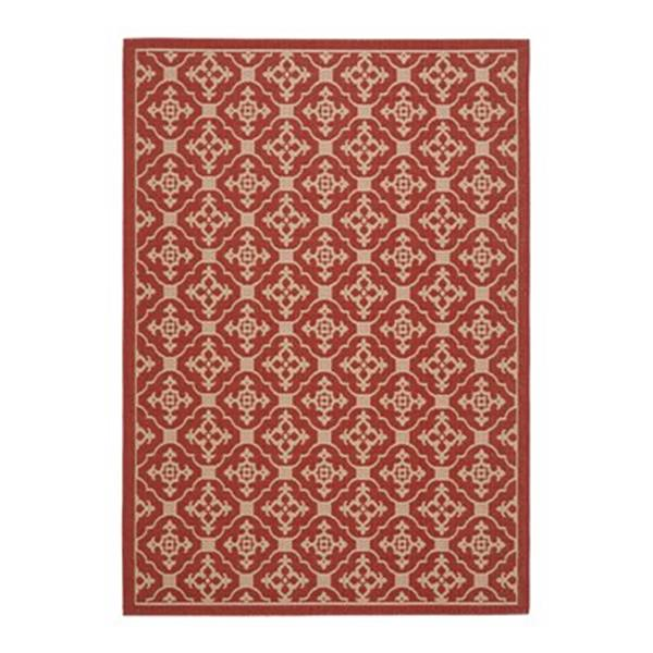 Safavieh Courtyard 134-in x 96-in Red/Cream Indoor/Outdoor Area Rug
