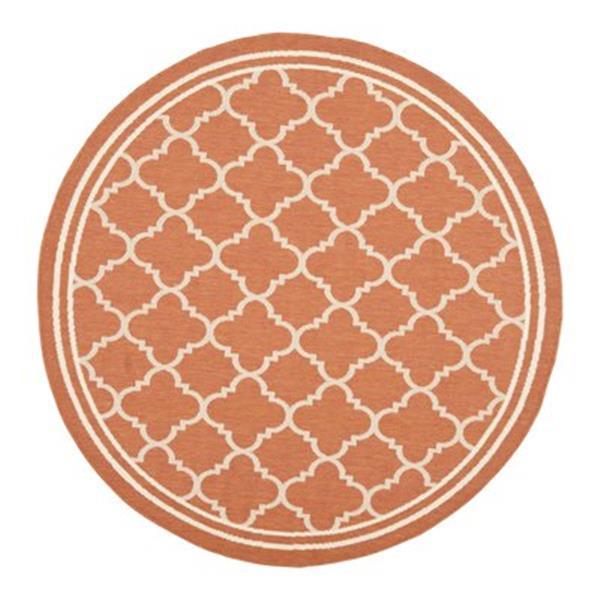 Safavieh Courtyard 134-in x 96-in Orange/Cream Indoor/Outdoor Area Rug