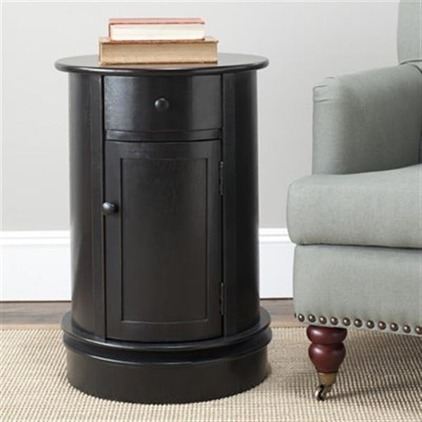 Safavieh Tabitha 26-in Distressed Black Oval Cabinet Table