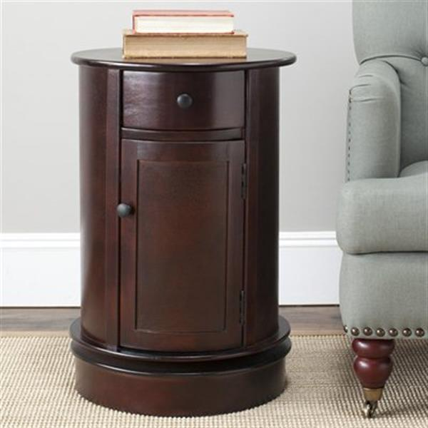 Safavieh Tabitha 26-in Dark Cherry Oval Cabinet Table