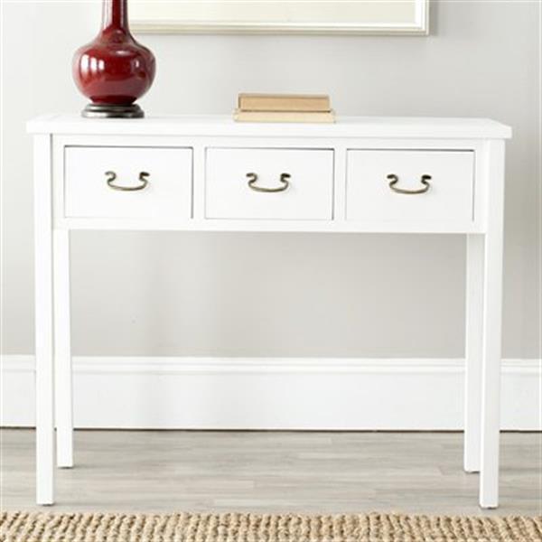 Safavieh Cindy 3-Drawer Rectangular White Console Table