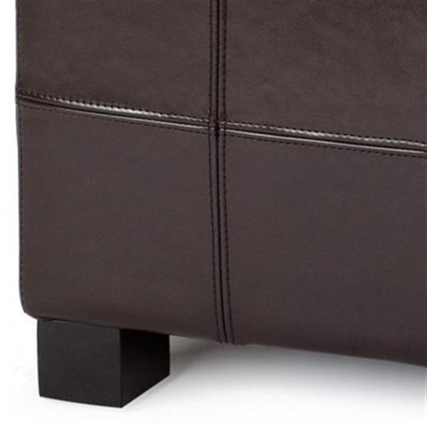 Safavieh Maiden Small Tufted Small 16.00-in x 29.00-in Brown Faux Leather Storage Bench