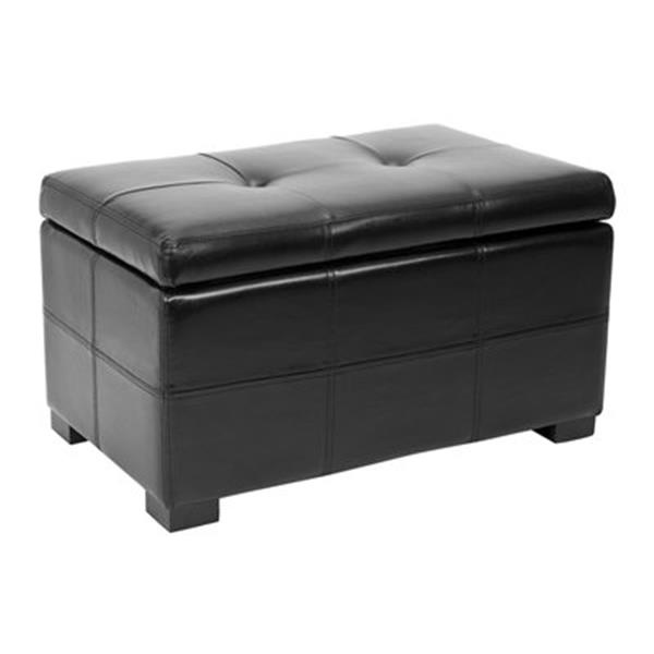 Safavieh Maiden Small Tufted Small 16.00-in x 29.00-in Black Linen Storage Bench
