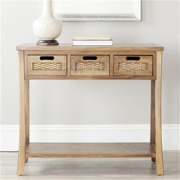 Safavieh Autumn 3-Drawer Rectangular Pine Brown Console Table