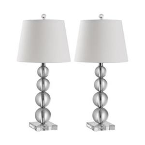 Safavieh 26.5-in Clear/White Millie Stacked Crystal Ball Lamps (Set of 2)