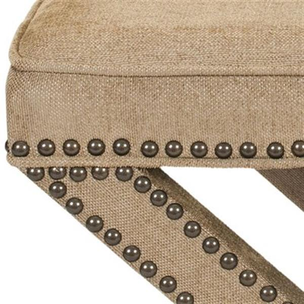 Safavieh Mercer Palmer 19.00-in x 21.50-in Golden Olive Cotton Fabric Ottoman