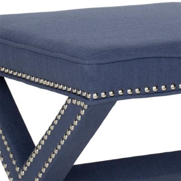 Safavieh Mercer Palmer 19.00-in x 21.50-in Navy Polyester Fabric Ottoman