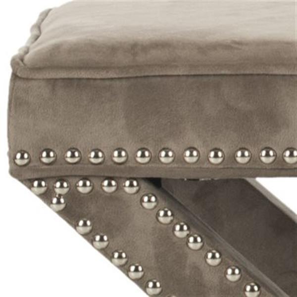 Safavieh Mercer Palmer 19.00-in x 21.50-in Mushroom Velvet Fabric Ottoman