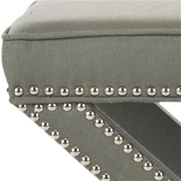 Safavieh Mercer Palmer 19.00-in x 21.50-in Sea Mist Linen Fabric Ottoman