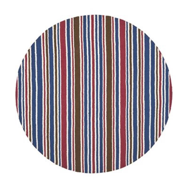 Safavieh Kid 6-ft Round Red and Blue Striped Area Rug