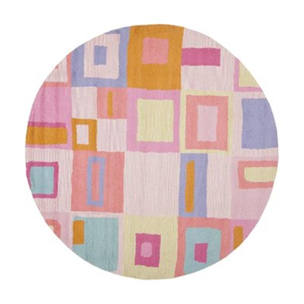 Safavieh Kids 6-ft Round Pink and Multi-Coloured Geometric Area Rug