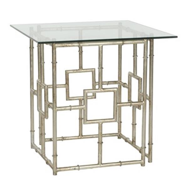 Safavieh Dermot 21.4-in Silver/Clear Glass Accent Table