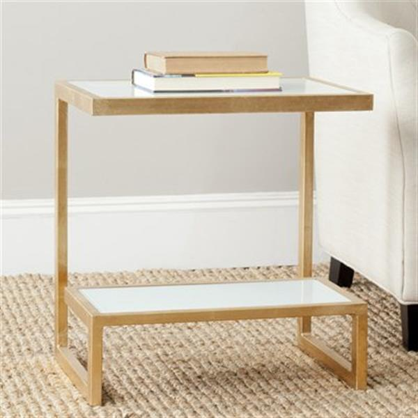 Safavieh Kennedy 21.5-in Gold/White Glass Accent Table