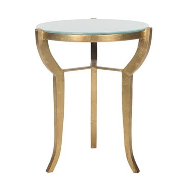 Safavieh Ormond 20.5-in Gold/White Glass Accent Table