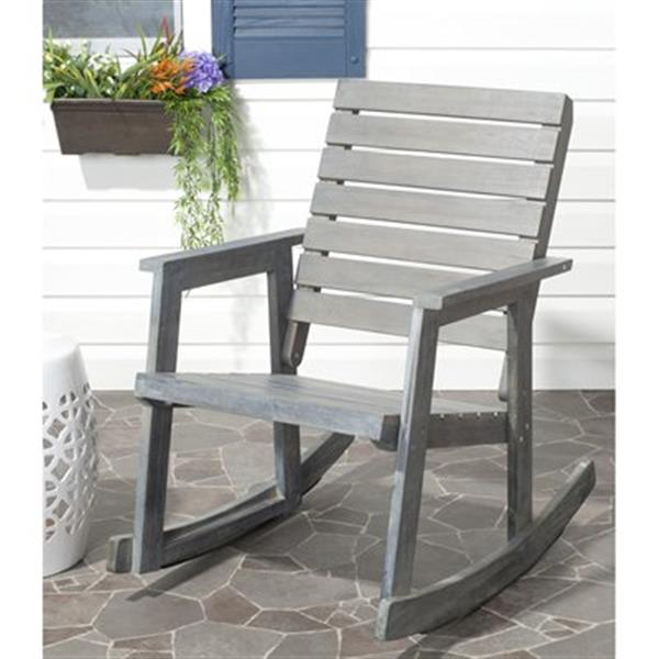 Safavieh 34.7-in x 24.4-in Ash Grey Alexei Rocking Chair