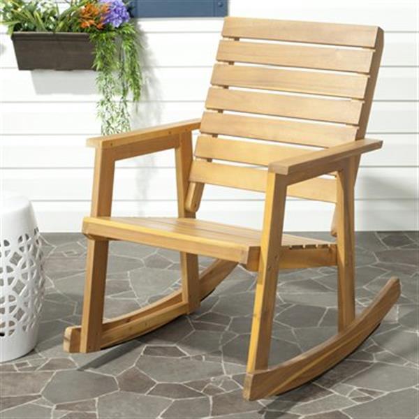 Safavieh 34.7-in x 24.4-in Teak Alexei Rocking Chair