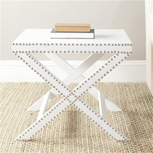 Safavieh Jeanine 20.5-in White X Bench Side Table