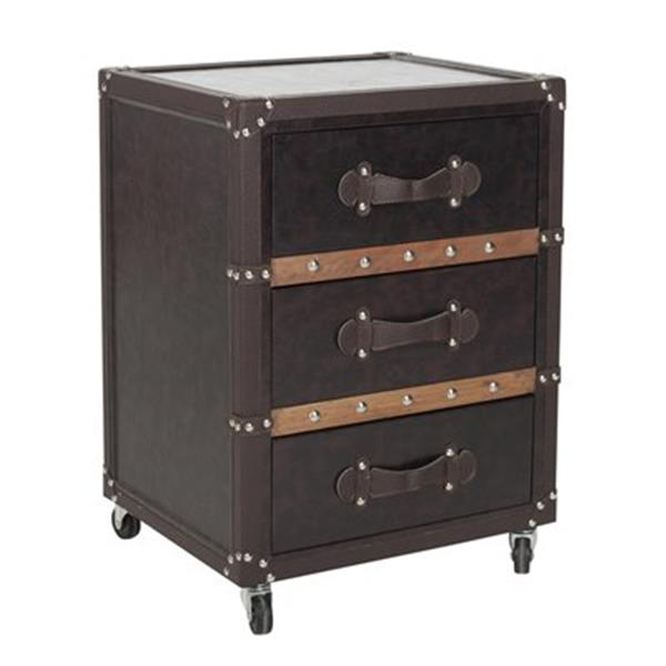 Safavieh Norman Brown Three Drawer Rolling Chest