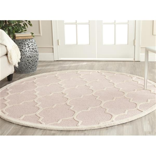 Safavieh Cambridge 6-ft Round Light Pink and Ivory Area Rug
