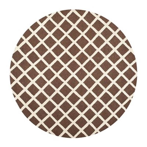 Safavieh Cambridge 6-ft Round Dark Brown and Ivory Area Rug