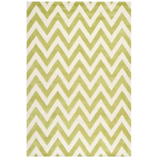 Safavieh Cambridge 6-ft x 6-ft Green and Ivory Square Chevron Area Rug