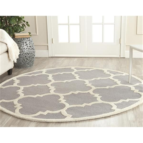 Safavieh Cambridge 6-ft x 6-ft Silver and Ivory Round Trellis Area Rug