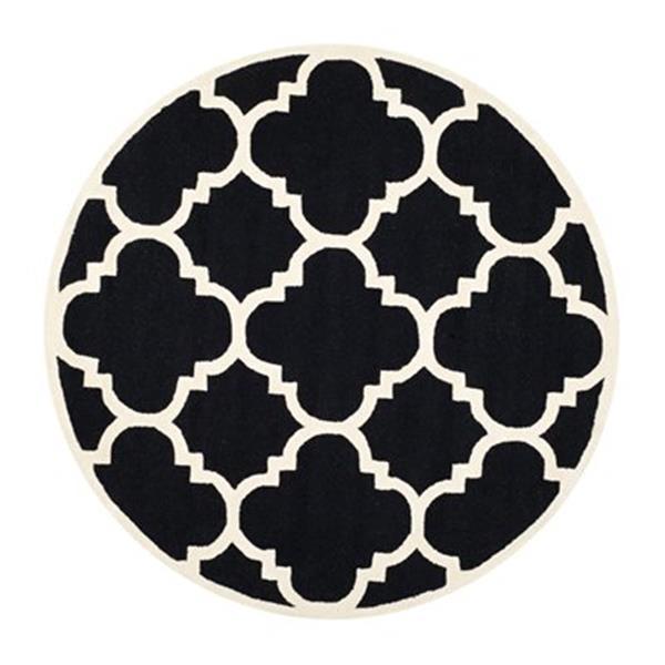 Safavieh Cambridge 6-ft x 6-ft Black and Ivory Round Trellis Area Rug