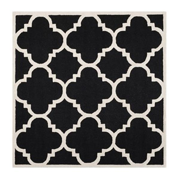 Safavieh Cambridge 6-ft x 6-ft Black and Ivory Square Trellis Area Rug