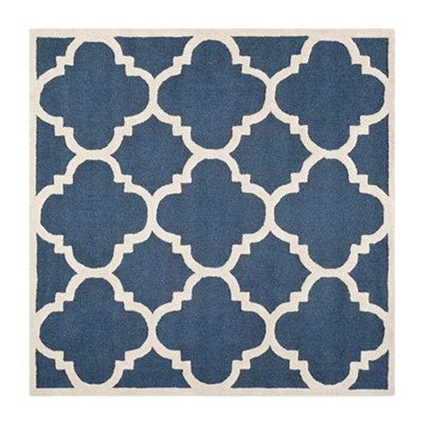Safavieh Cambridge 6-ft x 6-ft Navy and Ivory Square Trellis Area Rug