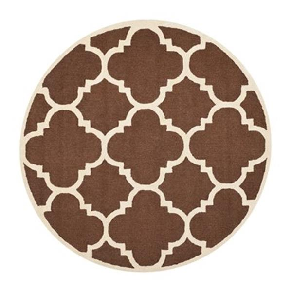 Safavieh Cambridge 6-ft x 6-ft Dark Brown and Ivory Round Trellis Area Rug