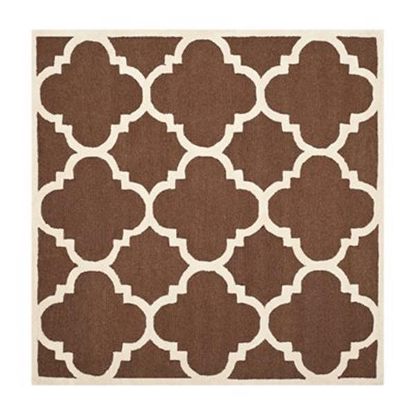 Safavieh Cambridge 6-ft x 6-ft Dark Brown and Ivory Square Trellis Area Rug