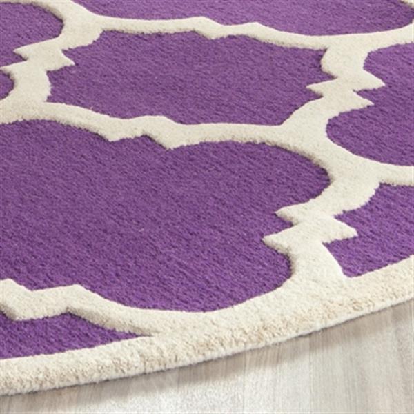 Safavieh Cambridge 6-ft x 6-ft Purple and Ivory Round Trellis Area Rug