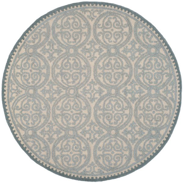 Safavieh Cambridge 6-ft Round Dusty Blue and Cement Area Rug